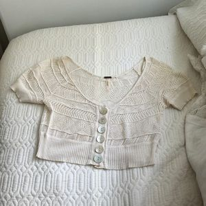 Free People cropped crocheted sweater
